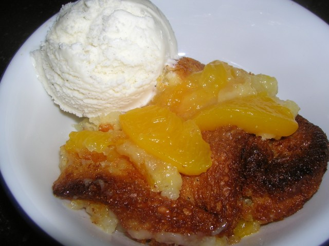 Peach Cobler with Vanilla Ice Cream Cooking Italian Comfort Food