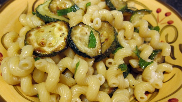 Cooking Italian Comfort Food Macaroni with Zucchini and Mint